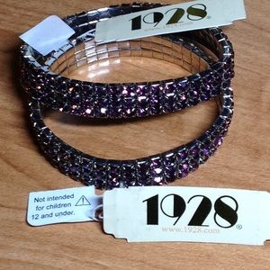 Two NEW 1928 gorgeous purple rhinestone bracelets